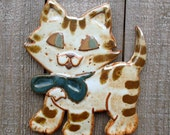 Hand Pressed Wall Hanging Striped Dimensional Tabby Cat/ Kitty with Bow Tile