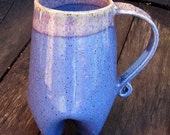 Tall 18 oz Handbuilt Potbelly Coffee Cup/ Mug in Two Shades of Purple