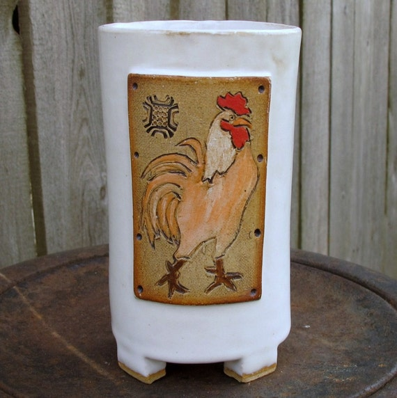 Fighting Rooster with Red Comb... Slim  Handbuilt Footed Mug in Creamy White