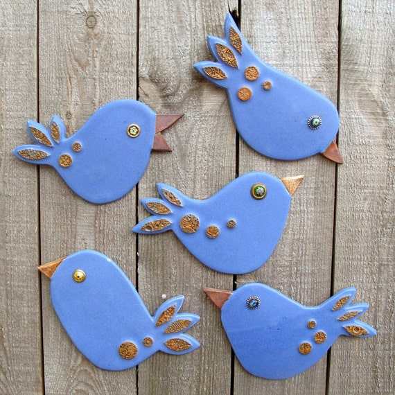 Five Charming Clay Blue Bird Tiles: One of a Kind Handbuilt Mixed Media Pottery