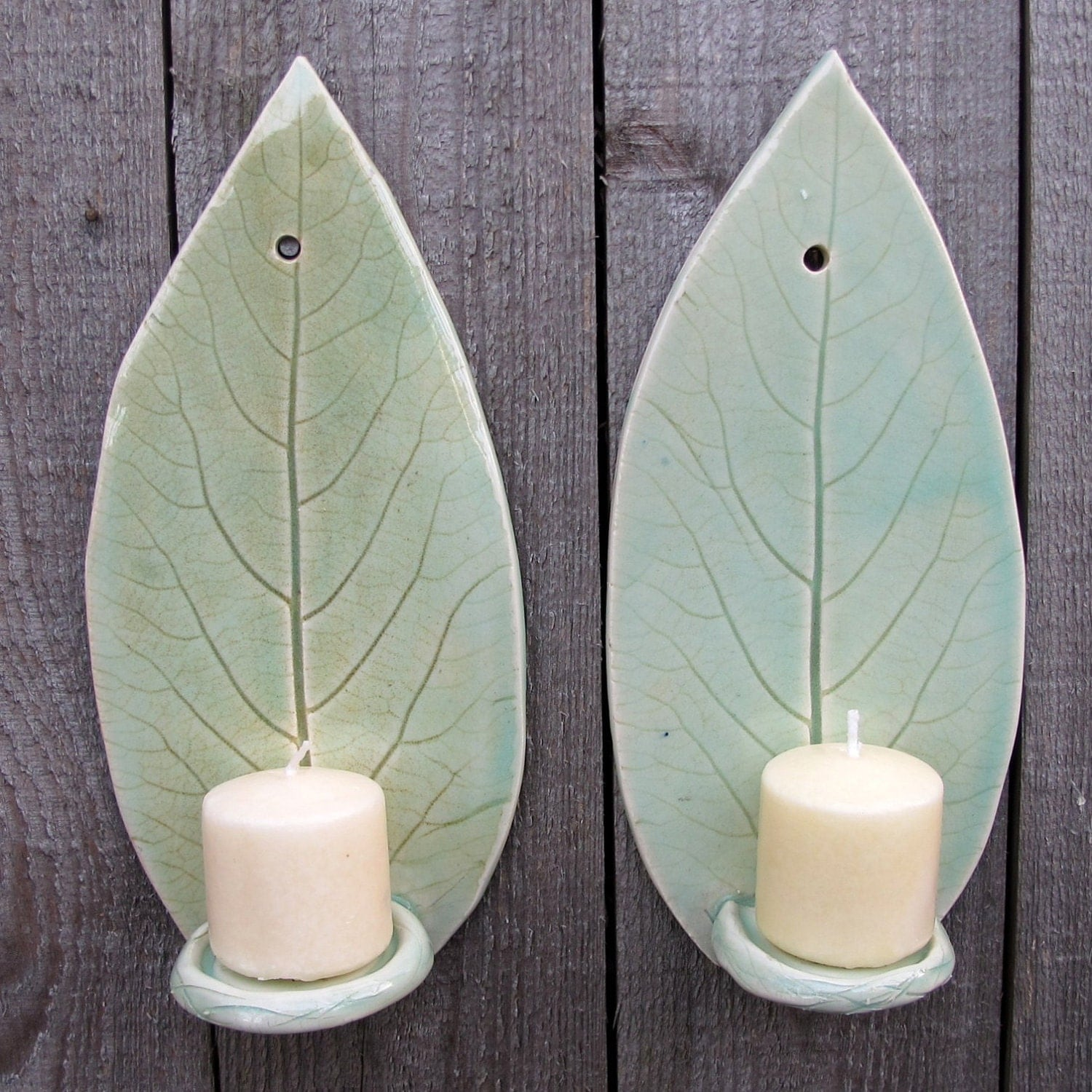 Handbuilt Hosta Leaf Clay/Pottery Wall Hanging Candle Sconces