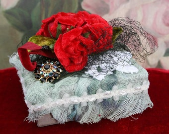 Jeweled Box with Millinery - Red Velvet Roses and Rhinestones
