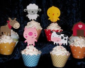 24 Farm Barnyard Buddies Cupcake Toppers ... choose one or any combination of different picks