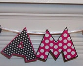 "Minnie ""I am 1""  Letter Banner ... Black and Hot Pink ... polka dots and stripes ... READY to SHIP ... CLEARANCE"