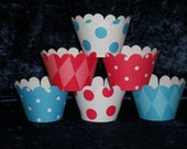 Red and Blue Cupcake wrappers ... 12 count ... Circus, Dr Seuss, Pirate Theme READY TO SHIP