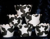 White on Black Star Cupcake wrappers ... black and white Star Holder Wraps ... 12 count READY TO SHIP