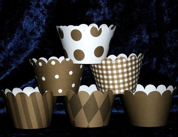 Coffee Brown Cupcake wrappers  Holder Wrap ... 12 count ... Mix diamond gingham polka dot stripe solid READY TO SHIP