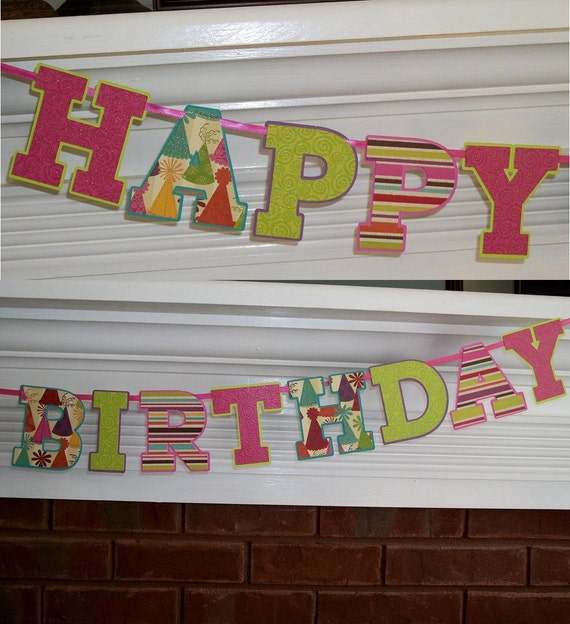 Happy Birthday Letter Banner ... Pink and Lime Green ... READY TO SHIP ... adjustable ... custom options available