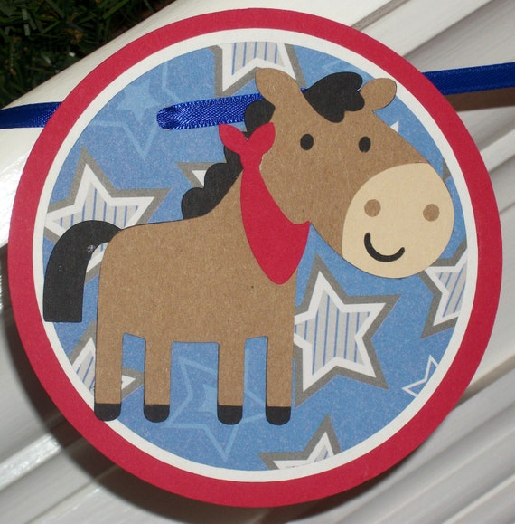 Cowboy or Farm Themed Happy Birthday Banner ... Pony ... red brown blue and white ... stripes and stars ... READY to SHIP ...CLEARANCE