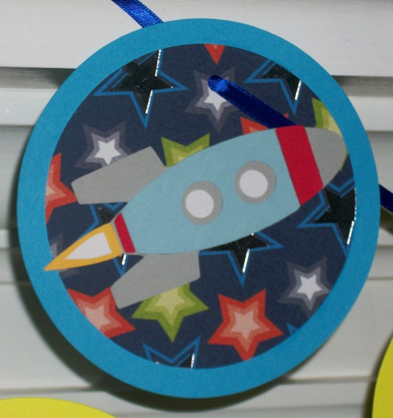 Rocket Happy Birthday Banner ... Space Rockets ... red yellow blue teal white ... stars ... READY TO SHIP ... panels adjustable