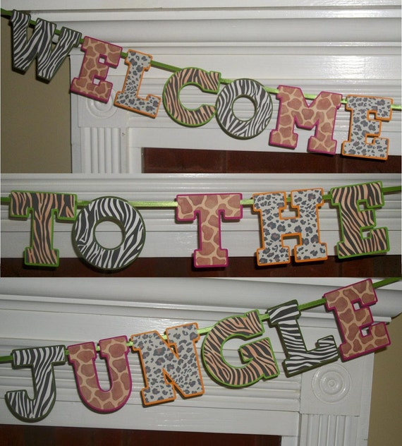 welcome to the jungle banner letter banner by apaperplayground. Black Bedroom Furniture Sets. Home Design Ideas