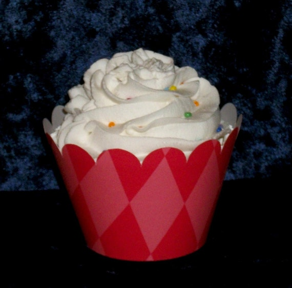 Red Diamond Cupcake wrappers ... Cherry Argyle Holder Wraps ... 12 count ... Circus, Dr Seuss, Pirate Theme READY TO SHIP