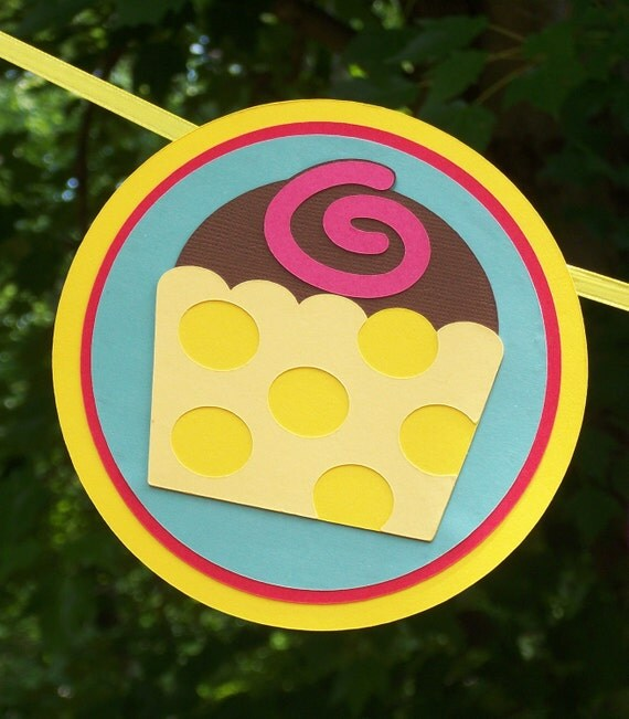 CLEARANCE Happy Birthday Banner ... Cupcakes ... deep pink yellow teal red  ... polka dots stripes ... READY to SHIP
