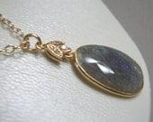 Winter  fashion Gold Necklace Gorgeous gray labradorite pendant. Beautiful with little black dress