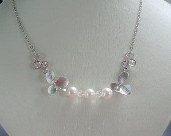 Pearl necklace Bridal necklace Freshwater Pearls jewelry  and Swarovski's crystal