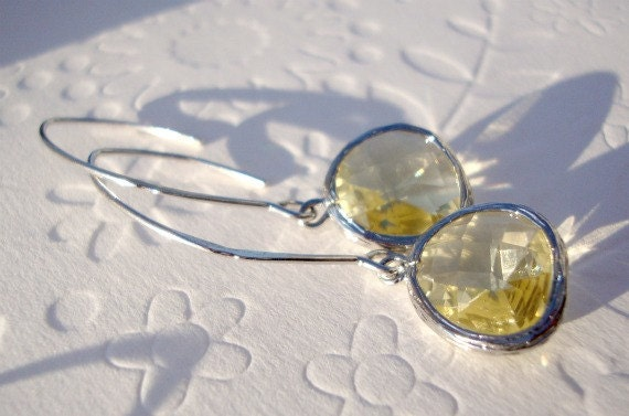Dangle Earrings, Bridesmaids gift yellow earrings, Hoops Long earrings Silver 925 and jonquil glass Wedding jewelry
