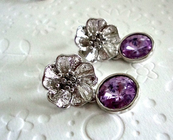 Stud earrings Spring fashion Sterling silver earrings Light purple Swarovski crystal and a big rhodium  flower earrings Mothers day Jewelry