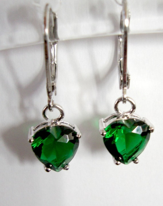 Green dangle earrings Birthstone jewelry  Small earrings Emerald green cubic zirconia/CZ heart shape, Fashion for her