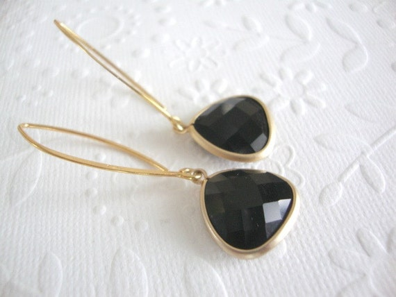 Dangle earrings Long Black and gold drop earrings Black onyx on 24 kt Vermeil gold marquise earrings