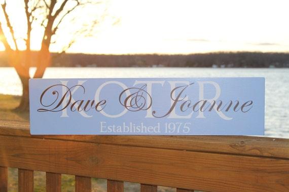 Custom Family Name Wooden Sign- Vinyl - Beautiful Home Decor, Wedding, Anniversary or Housewarming Gift