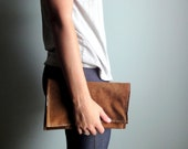 Upcycled Clutch, Large, Brown Leather, Rustic, and Eco-friendly