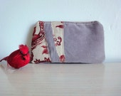 Large Upcycled Wallet, Red Floral and Gray Corduroy Pouch, Eco Friendly Clutch
