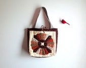 Upcycled Tote, Vintage Quilt Top Large Bag, Hand Quilted Eco-friendly Purse