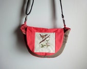 Upcycled Crossbody Bag with Vintage Bird Cross Stitch, Khaki and Melon Colorblock Hip Bag
