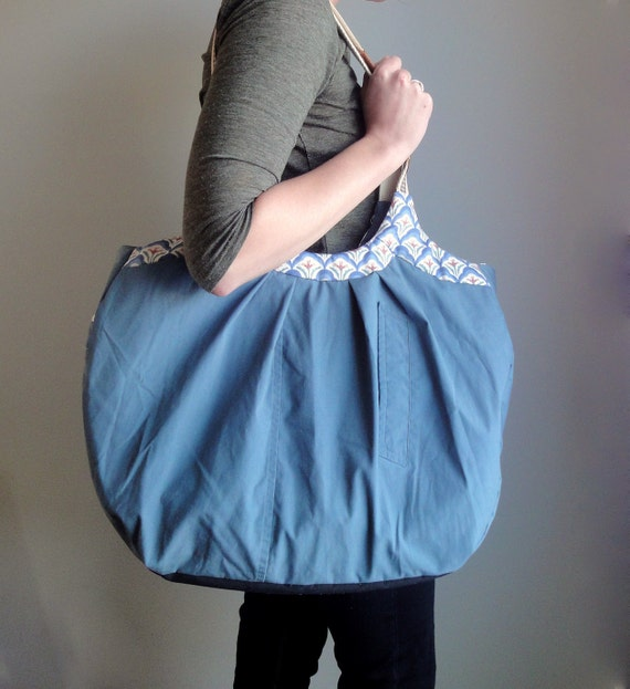 Luxury All Weather Weekender, Upcycled Travel Bag, Eco-Friendly Oversized Teal Tote