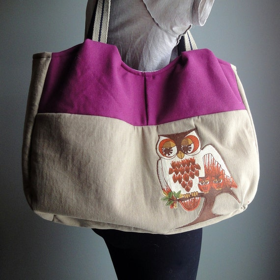 Upcycled Owl Tote, Ecofriendly Burgundy Applique Shoulder Bag, Repurposed Colorblock Carryall Purse