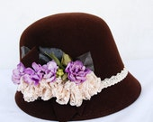 Free Shipping, Women cloche felted wool  hat, brown hat with purple flowers, 1920's 1930's, christmas gift
