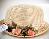 Sale, Women hats ,sun straw fedora ,floral garden party accessorise