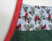 Full Apron, Green with Red Cardinals, Christmas Colors