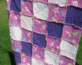 Clearance:Purple Cat Rag Quilt Child Sized 36x42 in 91x106 cm READY TO SHIP