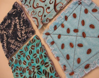 Set of 4 Blue Coffee Rag Quilted Coasters