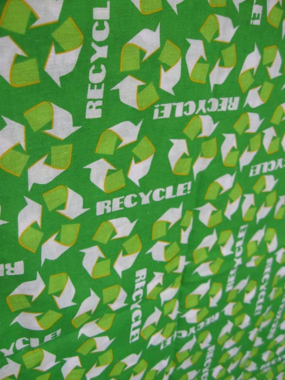 Green Recycle Print Cotton Fabric by Joan Pace Baker--READY TO SHIP