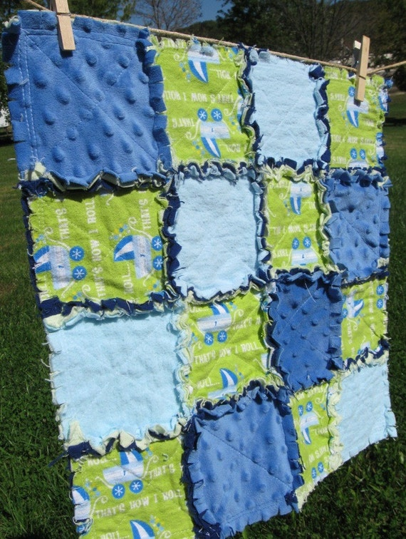 Blue and Green Security Blanket or Mini Quilt 16x16 inches 40x40cm READY TO SHIP