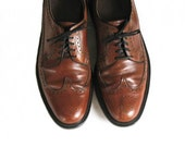 men's vintage leather wingtip pierced brown oxfords shoes 11C