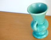 SALE--Was 8.00--Tiny Vintage Turquoise Ceramic Vase