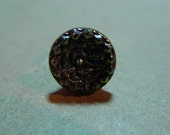 Silver Mine Vintage Czech Glass Button Adjustable Ring OOAK