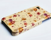iPhone 4S Hard Case: cute floral design on a beige background