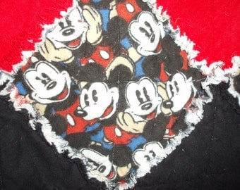 Classic Vintage Mickey Mouse Rag Quilt