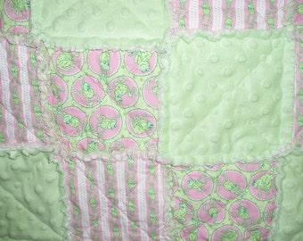 Green & Pink Froggie Rag Quilt