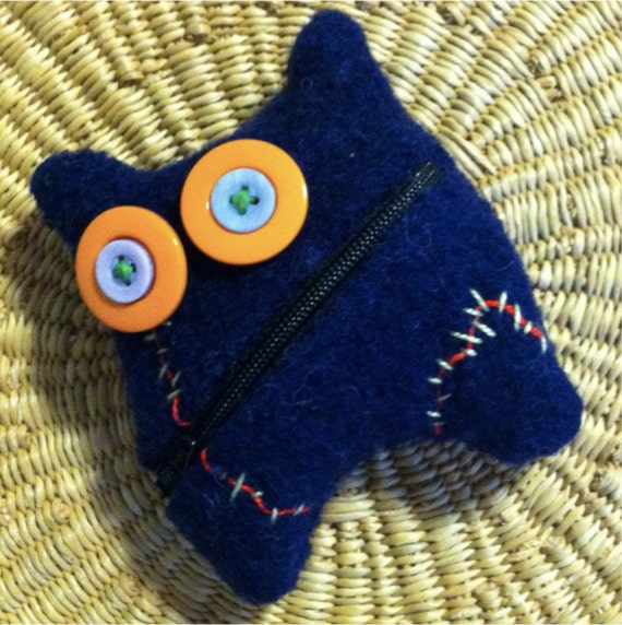 Navy Blue ZOmBie pouche earbuds change wallet felted Wool