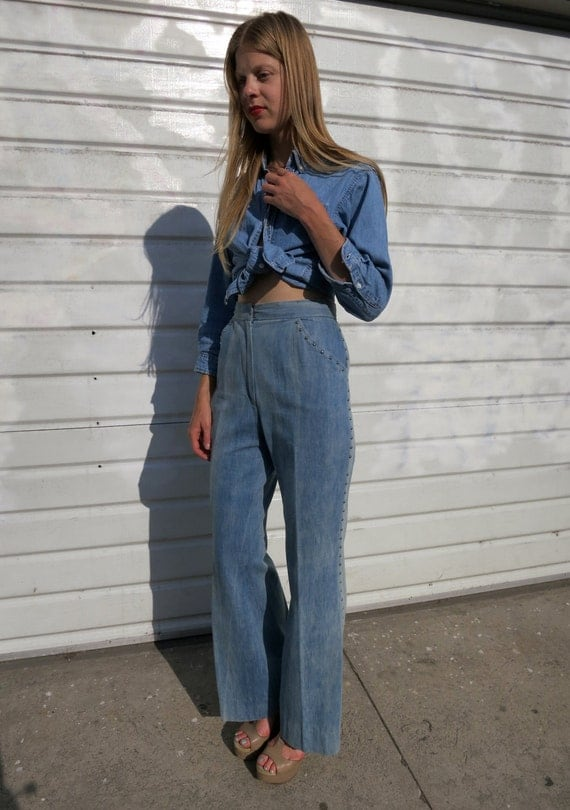 High Waisted Jeans w/ silver studs, wide leg, vintage 70s sz. m