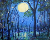 SET OF 3 Fireflies in the Moonlight Blank Greeting Cards