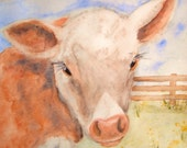 GICLEE PRINT 8 x 10 Springtime Calf Cow  Signed Art print