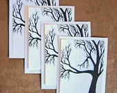 SMALL NOTECARD SET of 4 Passion Tree Black White Blue and  Moon