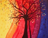 Rainbow Abstract 13 x 19  Tree Signed Giclee Art Print