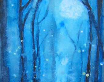 Fireflies Abstract Blue Moon Giclee Limited Edition ACEO Moonlight  Fog and Fireflies